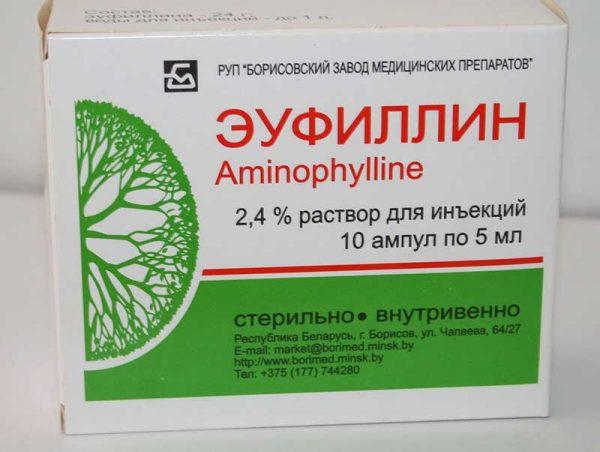 Раствор Аминофиллина в упаковке