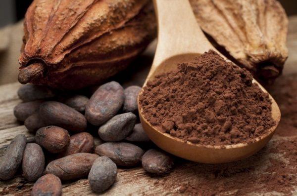 Сухое какао на деревянной ложке