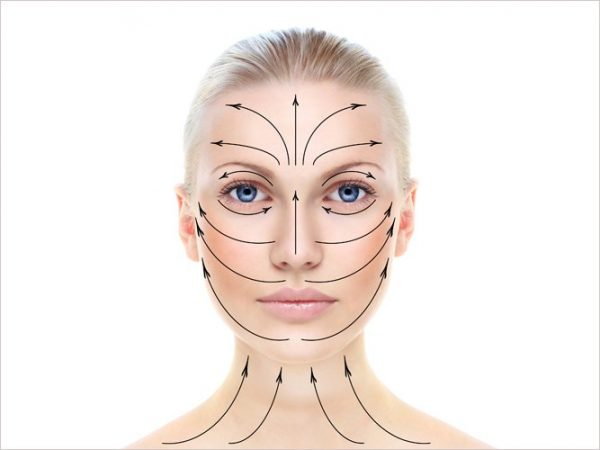 Схема расположения массажных линий на лице