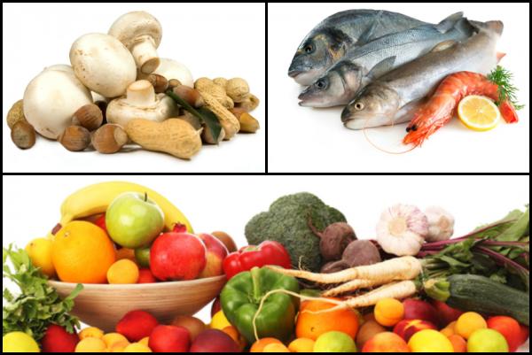 Полезные продукты питания: грибы, овощи, фрукты, морепродукты
