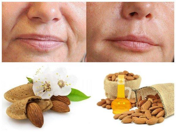 Результат применения миндального масла против морщин (лицо до и после)