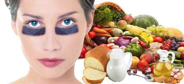 Лицо девушки и продукты