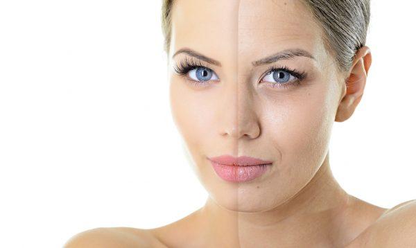 Лицо женщины, разделённое на две половины (старую и молодую)