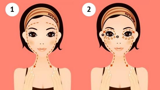 Самомассаж лица: шаги 1 и 2