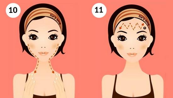 Самомассаж лица: шаги 10 и 11