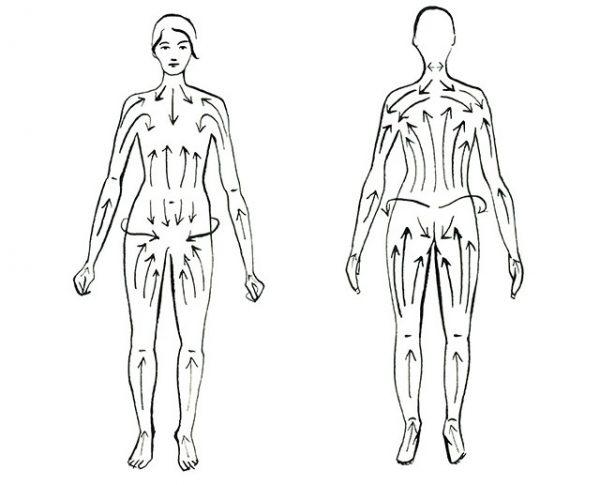 Схема: направление движений при выполнении сухого массажа