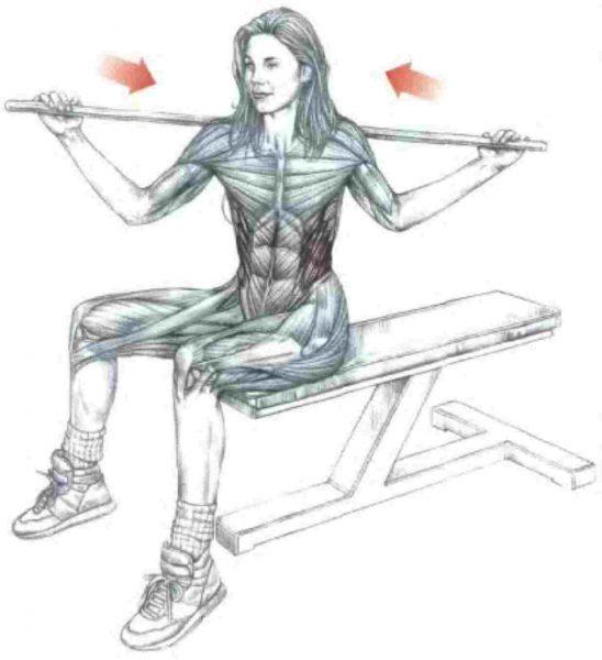 Схема: повороты тела с палкой