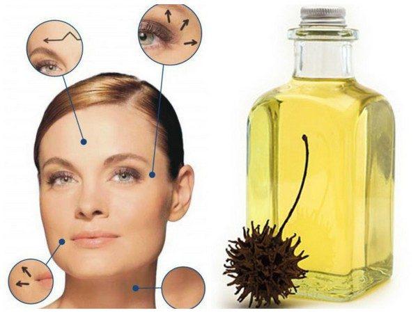 Касторовое масло в прозрачной ёмкости и лицо девушки