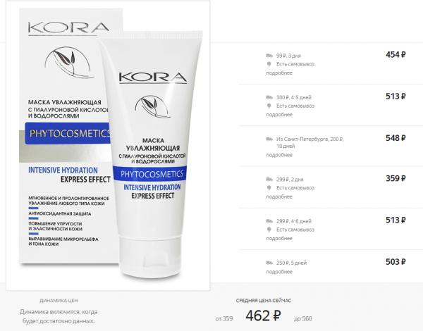 Внешний вид увлажняющей крем-маски Kora и стоимость по данным Яндекс.Маркета