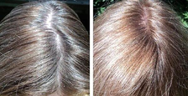 Волосы до и после окрашивания луковой шелухой