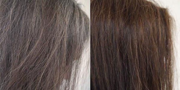 Волосы до и после окрашивания отваром из грецкого ореха